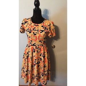 Lularoe Amelia Dress 80s Print Size S